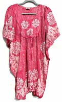 Embroidered Tie Dye Kaftan Hippie Top Dress Boho Beach Size 14 16 18 20 22 24 28