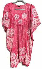 Embroidered Tie Dye Kaftan Hippie Top Dress Boho Beach Size 14 16 18 20 22 24 28