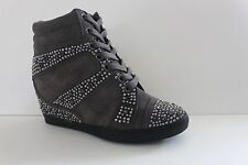 Gianni BIni Women's Sneaker Slam Dunk Grey Suede High Top Wedge Shoes Size 6 M