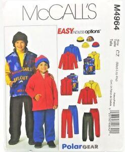 Child Jacket Vest Pants Hat Sewing Pattern M4964 M L XL McCalls Easy Polar Gear