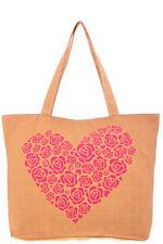 New Heart Pink Flower Print Tote Handbag