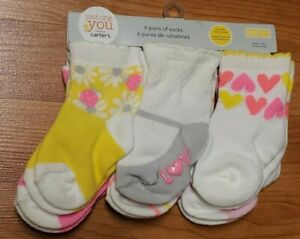 Just One You by Carter's 6 Pair Socks *NIP* Size 3-12MO Non-Skid