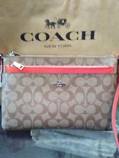 NWT COACH F58316  E/W Popup Pouch Signature Bag Bright Orange $225