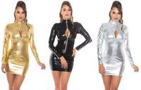 Wetlook Minikleid mit Reißverschlüssen, langarm zips Clubwear Party Kleid