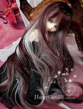 "1/3 8-9"" Dal.Pullip.BJD.SD BLYTH Doll Long Curl Dark Red Mix Hair BJD Wig"