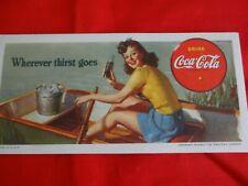 Vintage 1942 Coca-Cola Girl in Boat  Ink Blotter Card NOS Litho USA  WWII Era