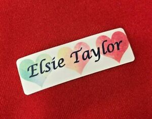 Personalised Iron On Waterproof Name Labels for clothes/ School Name Tags Hearts