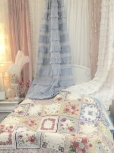 Queen Quilt Shabby Antique Sampler Patchwork Lavender Blue Pink Roses Chic NEW