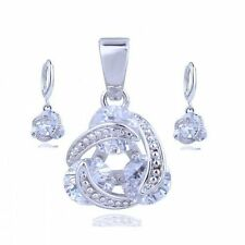 White Gold Plated Clear Coloured Fashion Jewellery Sets