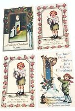 4 Recycled Paper Christmas Postcards