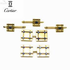 NYJEWEL Cartier 18K Gold Natural Sapphire Checker Cufflinks & Shirt Stud Set