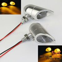 Motorcycle Silver LED Turn Signal Amber Indicator Light For Harley Chopper 9mm