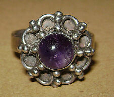 Vintage 925 Sterling Silver Amethyst Floral Setting Ring Size 8