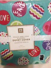 Pottery Barn Teen Peace & Love Flannel Twin Duvet NIP Pool Christmas Holiday