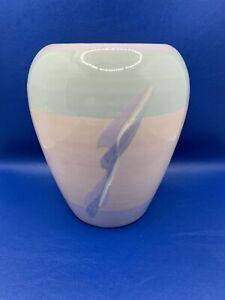 Vintage 80s Pastel Colorblocking Vohann California Pottery Flower Vase