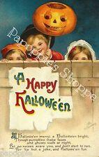 Fabric Block Halloween Vintage Postcard Image Kids