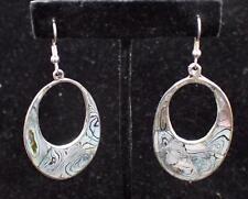 Pearl Dangle Oval Pierced Earrings #2 Alpaca Signed Mexico Silvertone Mother of
