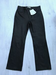 & Other Stories Ladies Black Genuine Leather Trousers Size UK 8 US 4 EUR 36