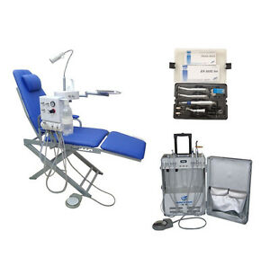 Dental Portable Unit with Air Compressor+Folding Chair+Wrench Typle Handpiece 2H