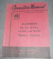 International McCormick No.25, 2C-F25, 34-F-25 & U-F25 Rotary Cutters Manual