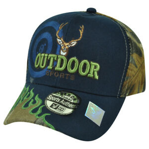 Outdoor Sports Deer Hunting Hunt Camping Camp Flame Camouflage Camo Hat Cap Navy