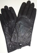 Ladies Silver Studded Genuine Leather Gloves,Black, Large