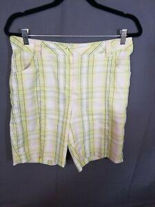 EP Pro~women's golf shorts~size 10~Athletic~Walking~Bermuda~Plaid~High Rise~Mom