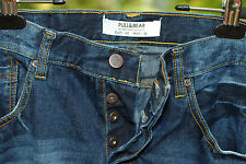 Pull & Bear Mens Blue Denim Jeans Button Fly Distressed measures 32 x 32 1/2 EUC