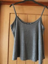 Ladies grey thin strappy T-shirt top by Boohoo.  Size 14