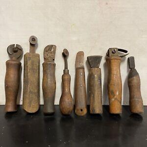 Set Of 8 X Vintage Saddlers Cobblers Leather Working Burnishing Wheels Tools