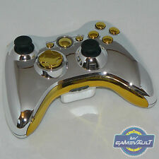 Xbox 360 Wireless Controller officiel Custom Chrome Argent & Or envoi rapide
