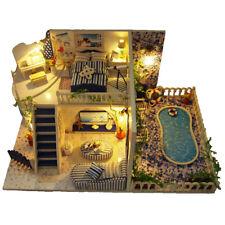 Santorini Island Wooden House DIY Dollhouse LED Light Furniture Child Model Gift