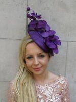 Purple Orchid Flower Saucer Disc Hat Fascinator Headband Races Wedding Hair 6011