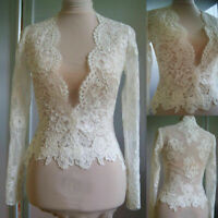 V Neck Wedding Bridal Tops Jackets Lace Boleros White Ivory Long Sleeve Appilque