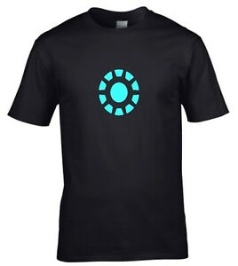 Iron man Chest Light Superhero comic Mens T-shirt