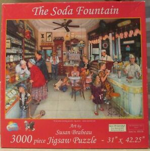 THE SODA FOUNTAIN BY SUSAN BRABEAU - Complete - 3000 PIECES SUNSOUT PUZZLE
