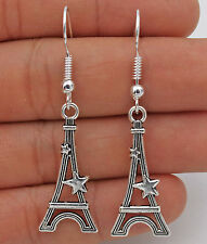 Cute New Tibetan Silver Eiffel Tower Dangle Earrings w/925 Silver Plated Hook