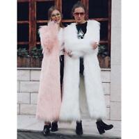 Winter Women's Faux Fur Coat Long Warm Female Parka Jacket Overcoat Outwear SIZE