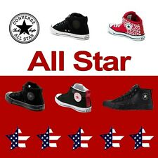 "CONVERSE CANVAS LEATHER MID CHUCK TAYLOR ""ALL STAR"" HI STREET BLACK WHITE UNISEX"