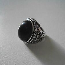 Bague avec pierre naturelle fine, onyx noir imitation, look rétro antique, neuve