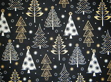 CHRISTMAS VALANCE CURTAIN GOLD METALLIC & WHITE TREES ON BLACK BACKGROUND