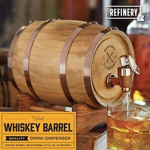 Refinery Wooden Whiskey Barrel Decanter Beer Wine Drinking Dispenser Party Bar