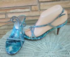 Ann Taylor strappy high heels Shoes Teal Blue sz 6 1/2 M