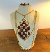Vintage Crown Trifari WATERFALL Necklace Set Gold Amber Lucite Bead Book Piece