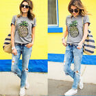 Womens Short Sleeve T-Shirt Graphic Casual Summer Top Tee Shirt Blouse Plus Size