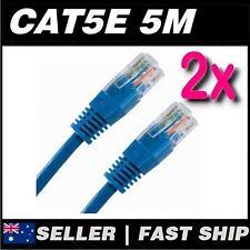 2x 5m Blue Cat5 Cat5E 100Mbps  RJ45 Ethernet Network LAN Patch Cable