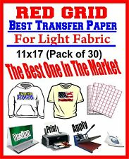 HEAT TRANSFER PAPER RED GRID IRON ON LIGHT T SHIRT INKJET PAPER 30 PK 11X17