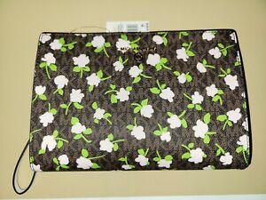 Michael Kors Signature Medium Travel Wristlet Pouch Brown Multi Floral NWT $128