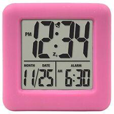 70902 Equity by La Crosse Pink Soft Cube Lcd Digital Alarm Clock - Refurbished