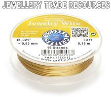 """GRIFFIN GOLD PLATED STEEL BEADING JEWELRY WIRE .021"""" / 0.53mm 30 FT. 19 STRAND"""